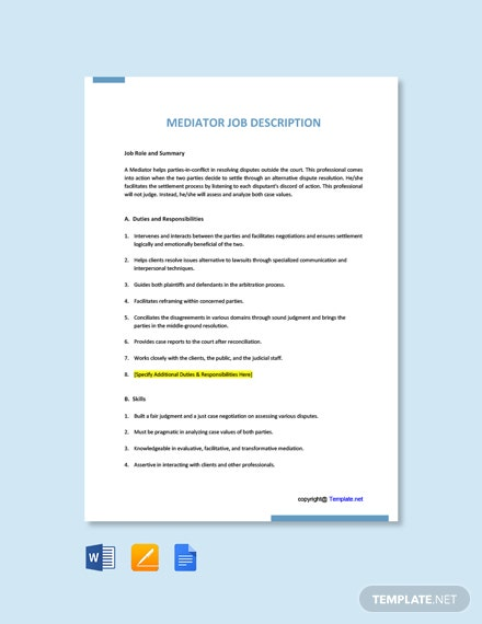 Free Mediator Job Ad and Description Template