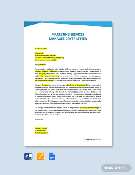 Free Marketing Services Manager Cover Letter Template