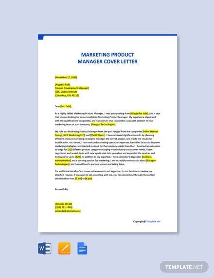 Free Marketing Product Manager Cover Letter Template