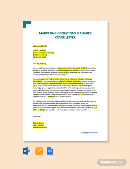Free Marketing Operations Manager Cover Letter Template