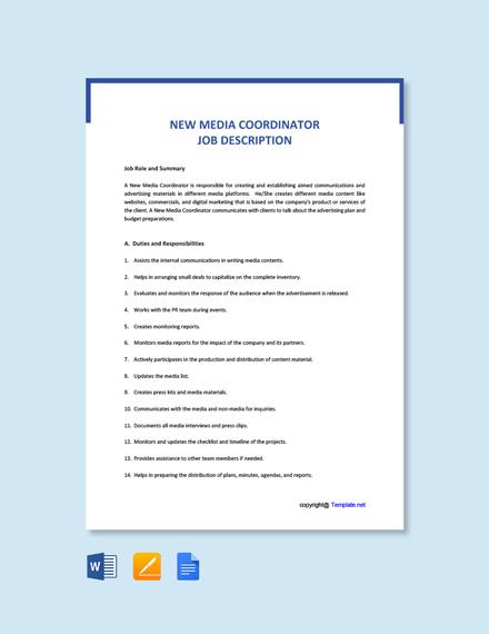 Free New Media Coordinator Job Ad and Description Template