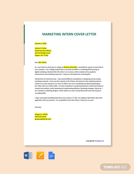 Free Marketing Intern Cover Letter Template