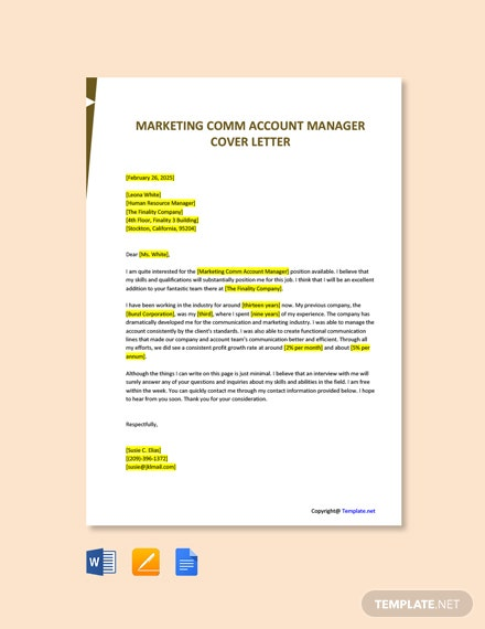 Free Marketing Comm Account Manager Cover Letter Template