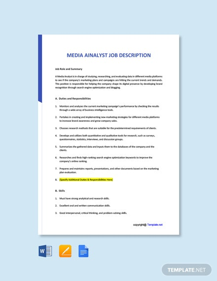 Free Media Analyst Job Ad and Description Template