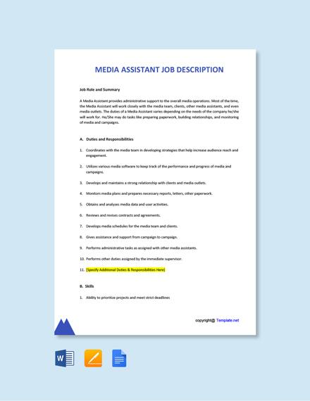 Free Media Assistant Job Ad and Description Template