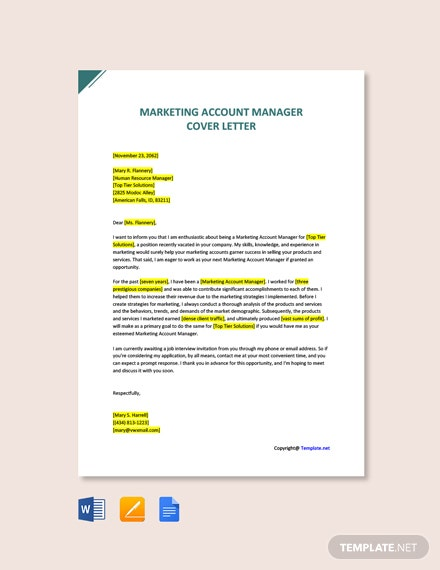 Free Marketing Account Manager Cover Letter Template