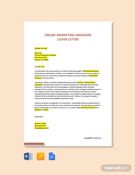 Free Online Marketing Manager Cover Letter Template