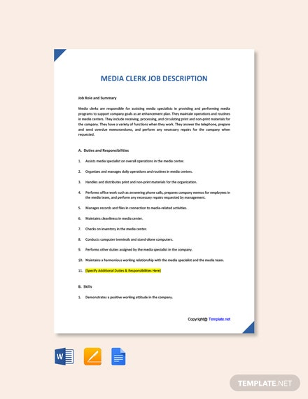 Free Media Clerk Job Ad and Description Template