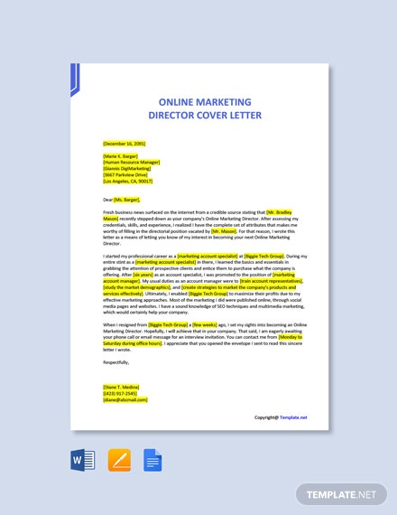 Online Marketing Director Cover Letter Template