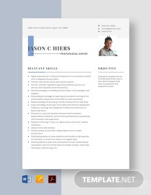Free Professional Driver Resume Template