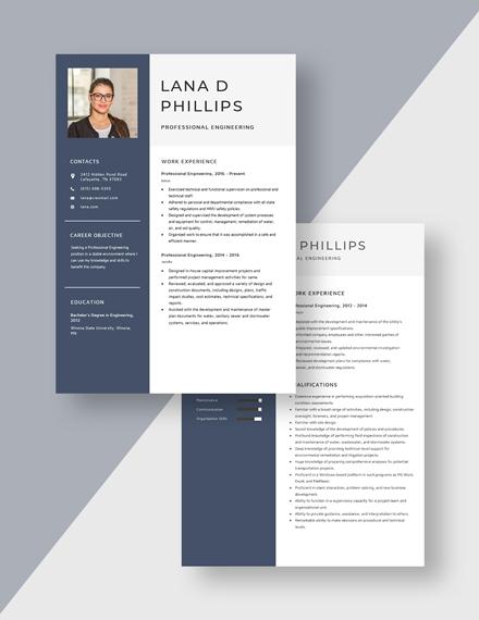 Professional Engineering Resume Download