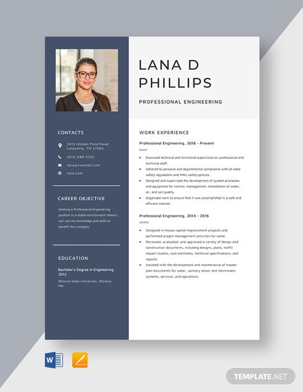 Professional Engineering Resume Template