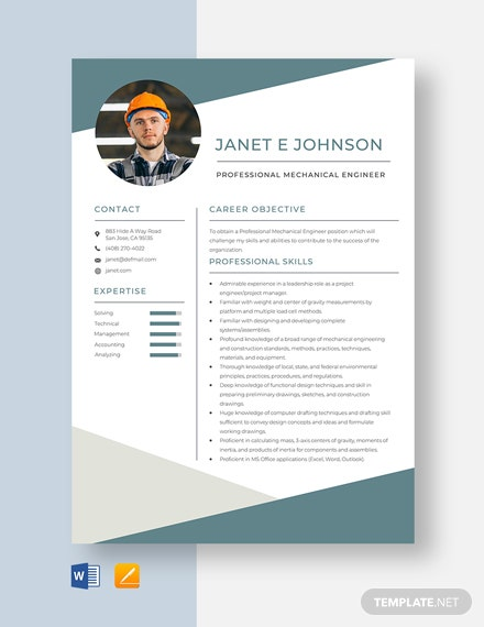 Professional Mechanical Engineer Resume