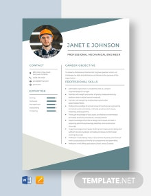 Professional Mechanical Engineer Resume Template