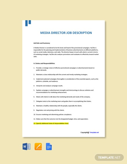 Free Media Director Job Ad and Description Template