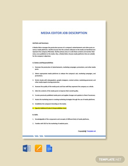 Free Media Editor Job Ad and Description Template