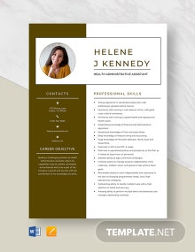 Free Health Administrative Assistant Resume Template