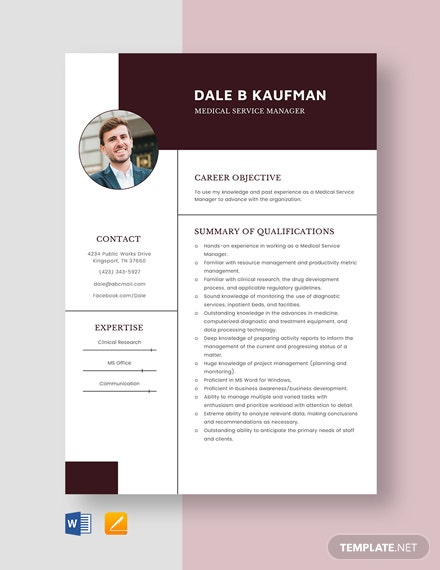 Medical Service Manager Resume Template