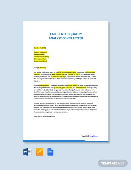 Free Call Center Quality Analyst Cover Letter Template