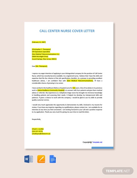 Free Call Center Nurse Cover Letter Template