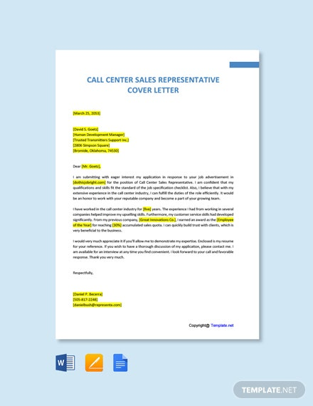 Free Call Center Sales Representative Cover Letter Template