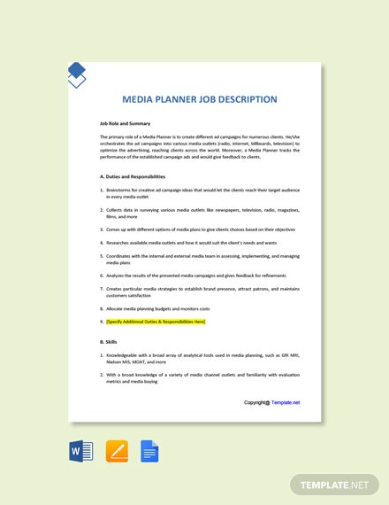 Free Media Planner Job Ad and Description Template