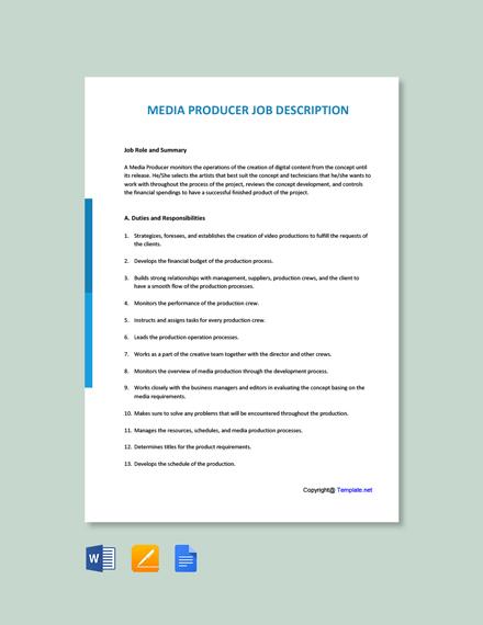 Free Media Producer Job Ad and Description Template