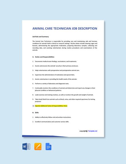 Free Animal Care Technician Job Ad and Description Template
