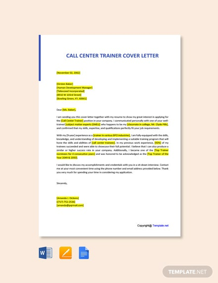 Free Call Center Trainer Cover Letter Template