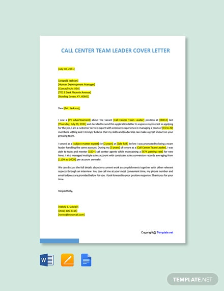 Free Call Center Team Leader Cover Letter Template
