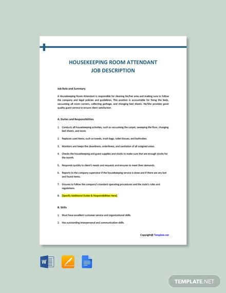 Free Housekeeping Room Attendant Job Ad and Description Template
