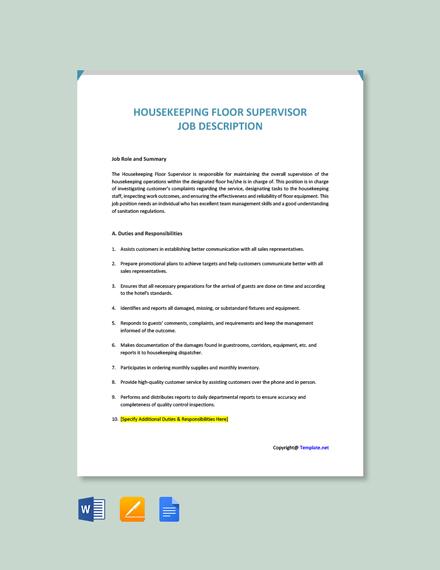 Free Housekeeping Floor Supervisor Job Ad and Description Template