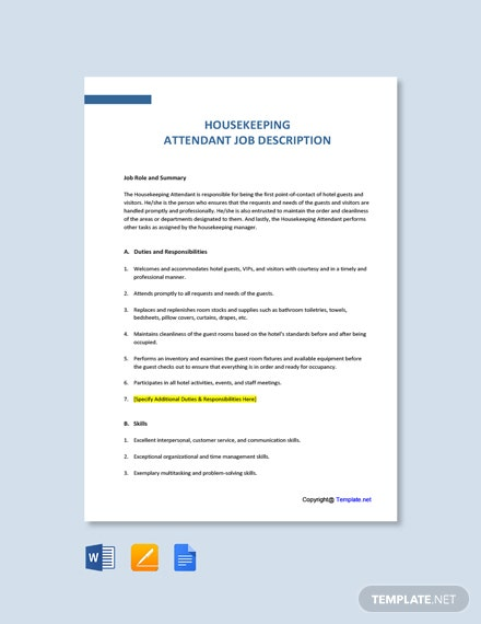 Free Housekeeping Attendant Job Ad and Description Template