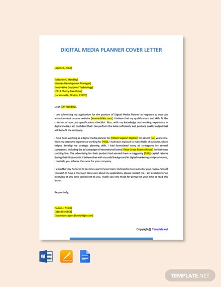 Free Digital Media Planner Cover Letter Template