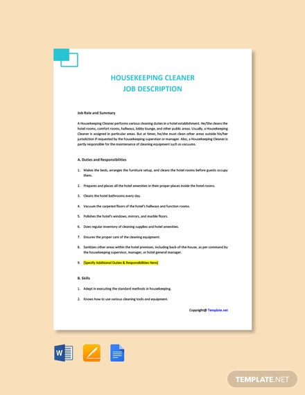 Free Housekeeping Cleaner Job Ad and Description Template