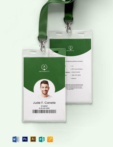 High School Student ID Card Template