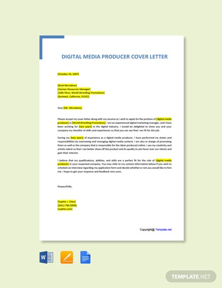 Free Digital Media Producer Cover Letter Template