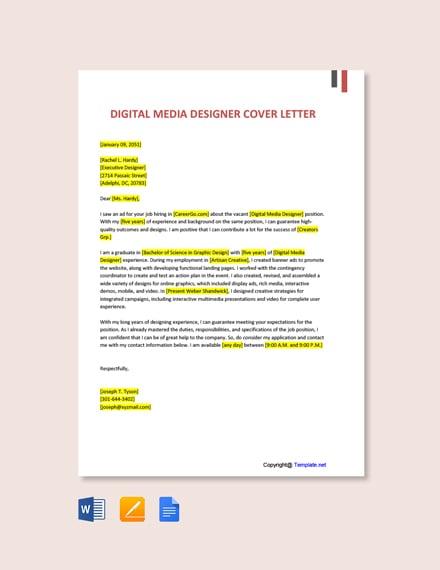 Free Digital Media Designer Cover Letter Template