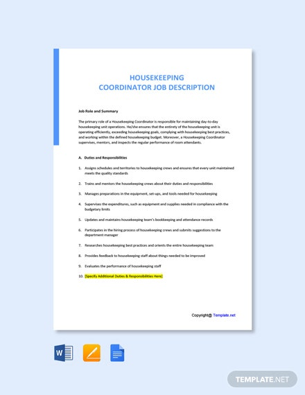 Free Housekeeping Coordinator Job Ad and Description Template