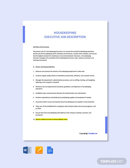 Free Housekeeping Executive Job Ad and Description Template