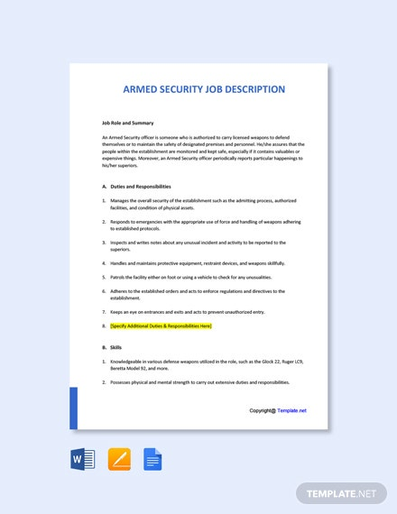 Free Armed Security Job Description Template