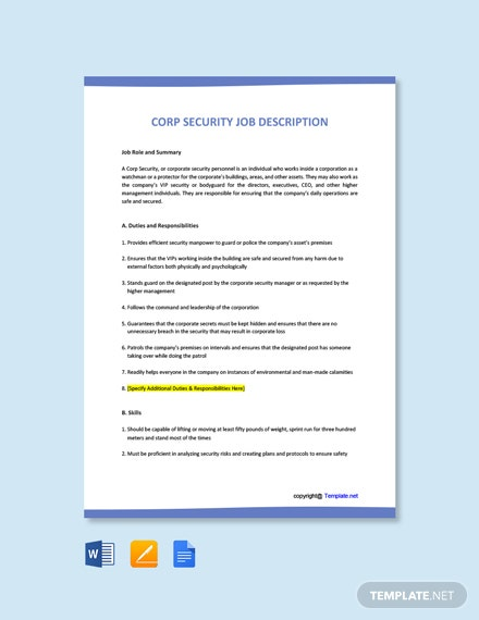 Free Corporate Security Job Ad and Description Template