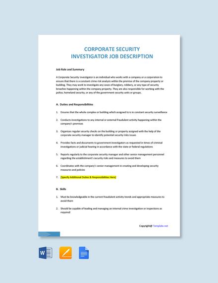 Free Corporate Security Investigator Job Ad and Description Template