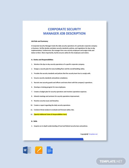 Free Corporate Security Manager Job Ad and Description Template