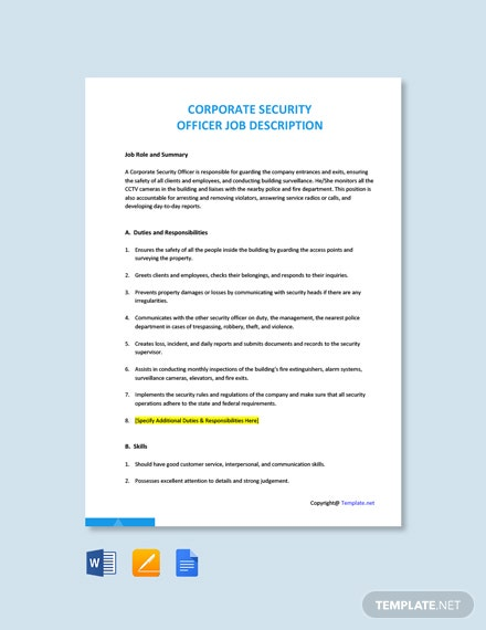 Free Corporate Security Officer Job Ad and Description Template