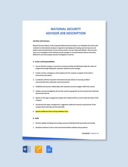 Free National Security Advisor Job Ad/Description Template