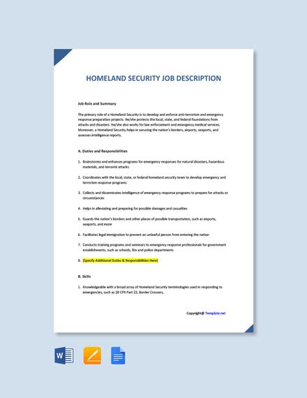 Free Homeland Security Job Ad/Description Template