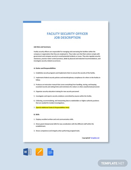 Free Facility Security Officer Job Ad/Description Template