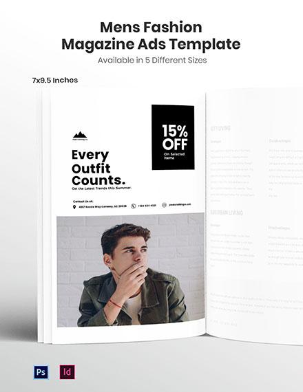 Free Men's Fashion Magazine Ad Template