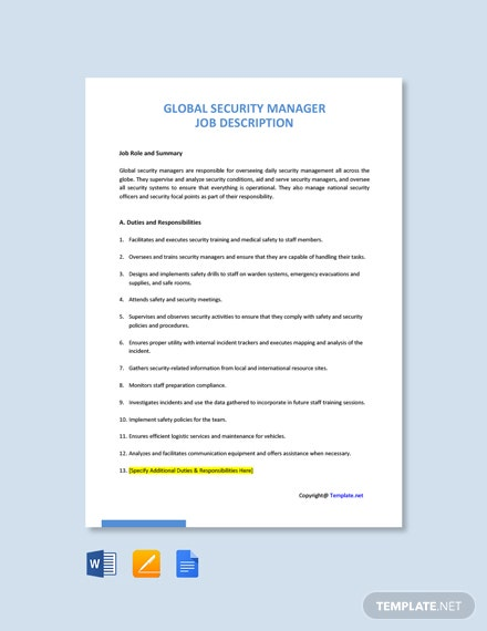 Free Global Security Manager Job Ad/Description Template
